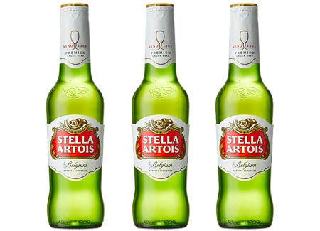 3 Stella Artois Belgian Pilsner Beer Bottles
